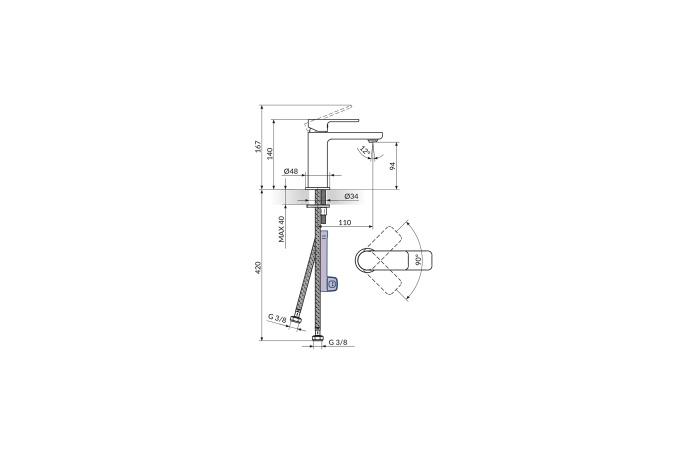 Rosan S2 - Set Slavina 2 u 1 - Baterija za usponski tuš + Baterija za lavabo - 237251+230101