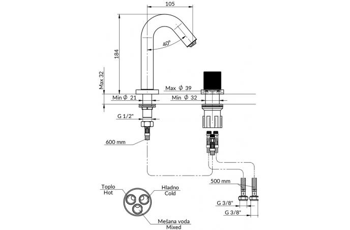 Baterija Rosan S2 Black podgradna za umivaonik jednoručna - 230401b