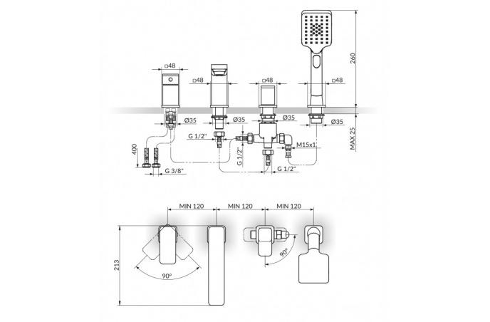 Slavina-baterija Stolz S2 ugradna za kadu 233204