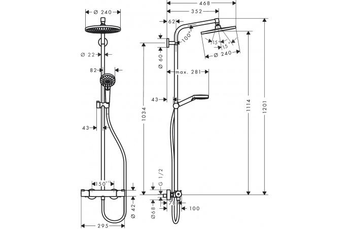 Hansgrohe  Crometta S 240 termo slavina sa usponskim tušem - 27267000