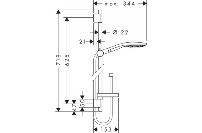 Klizna šipka Select S 150 3Jet set 0,65m Hansgrohe - 27802000