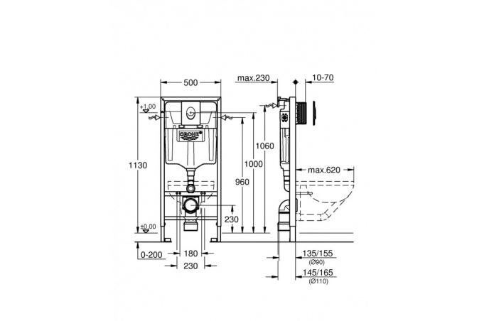 Rapid SL ugradni vodokotlić ta WC šolju Set 3 u 1, visina inatalacije 1,3m Grohe - 38721001