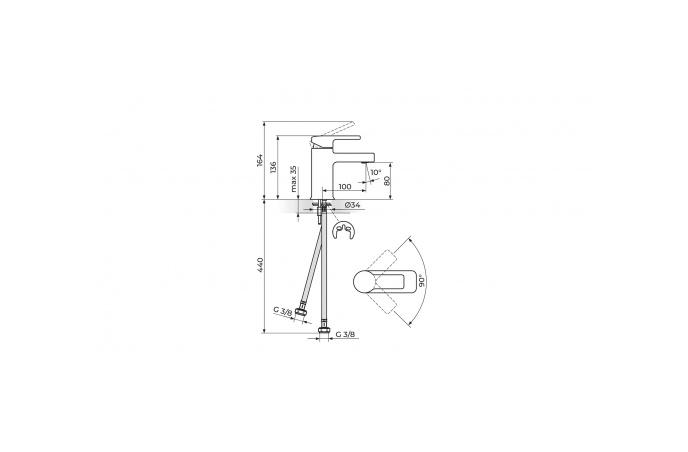 Rosan B/2 - Set Slavina 3 u 1 - Baterija za kadu sa ručnim tušem + Zidna šipka + Baterija za lavabo - JB33101+PDTZS05+JB30101