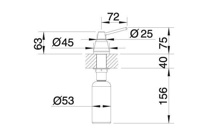 Dozator za deterdžent - Blanco Tiga - Hrom - 250ml - (510769)