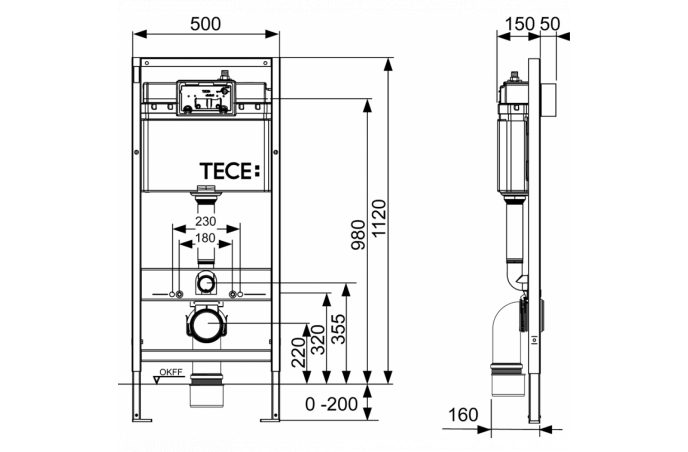 Set TECE - 4u1 - Ugradbeni vodokotlić + Bela tipka + Konzolna Fayans wc šolja + Termoplast wc poklopac-SoftClose