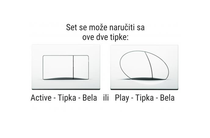 Set Fluenta - 4 u 1 - Ugradbeni vodokotlić Fluenta + Tipka Active - Bela + Konzolna wc šolja - Fluenta Basic sa Soft Close daskom