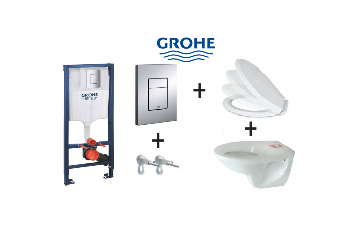 Grohe set 4 u 1 - Ugradbeni vodokotlić + Aktivirna Tipka + Konzolna Wc šolja + SoftClose Wc daska
