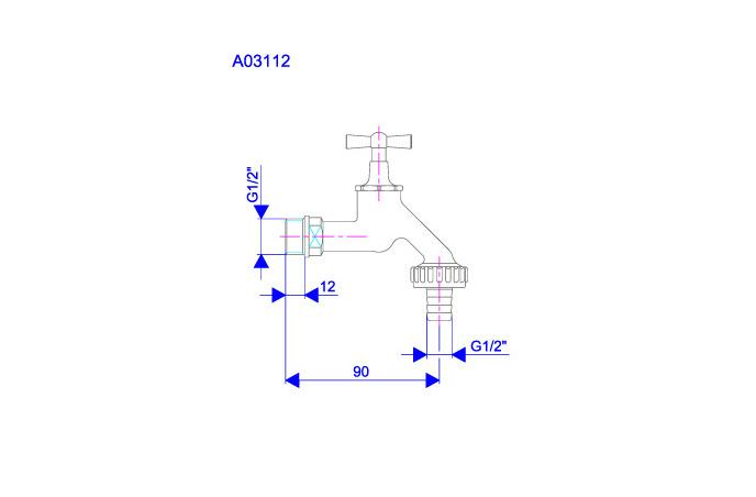 """Baštenski ventil  sa metalnim holenderom 1 2"""" x3 4"""" A03112"""