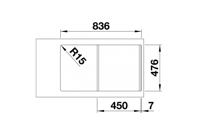 Korito sudopera - Blanco Lantos 45 S-IF - Inox - 860x500mm - 519717