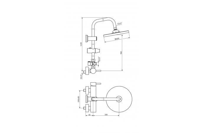 """Slavina-Baterija """"DARK"""" Baterija za tuš kadu sa usponskim i ručnim tušem- JD37251"""